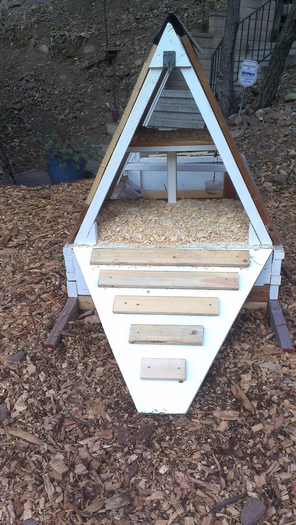 End view of restored chicken tractor